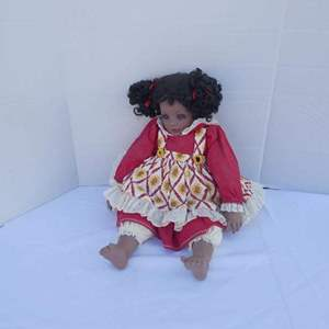 """Lot # 257-African American Porcelain Doll """"RARE FIND"""""""