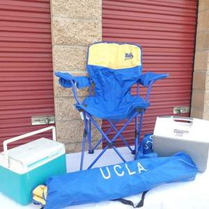 """Lot # 264-Camping set, BRAND NEW """"UCLA"""" chairs, 2 ice chests"""