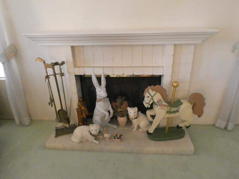 Lot # 4-Wooden horse carousel, Unique golf clubs fireplace tools, and more! (main image)