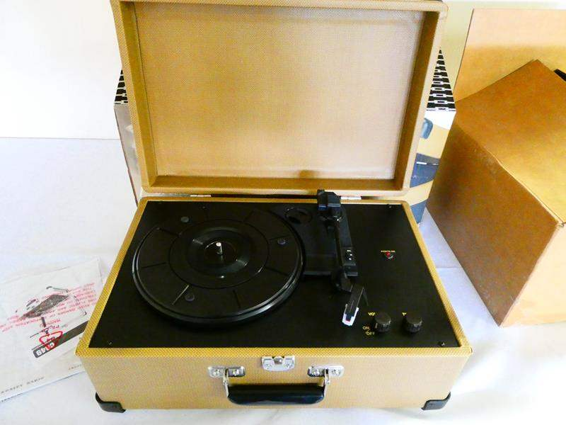 Lot # 193-1950 Portable record player, Crossley brand, plus 2 full boxes of albums (main image)