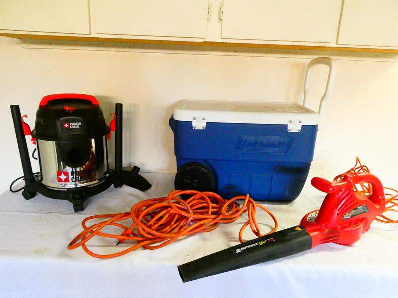 "Lot # 198-Two speed ""Homelite"" leaf blower, Coleman cooler, Porter cable mini shop-vac, extension cord (main image)"