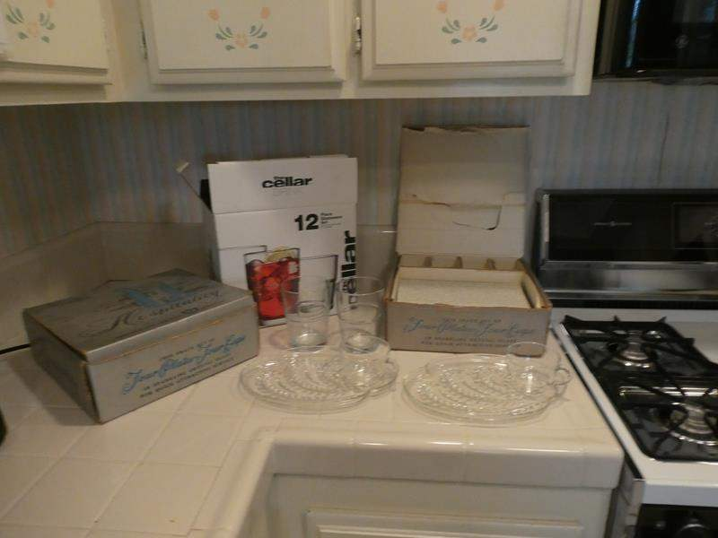 """Lot # 28-Vintage """"snack setting"""" service for 8 & Glassware! (main image)"""