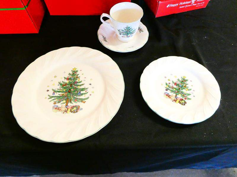 Lot # 207-Three boxes: serving for 12. Christmas dinner/ dessert sets- Great condition! (main image)