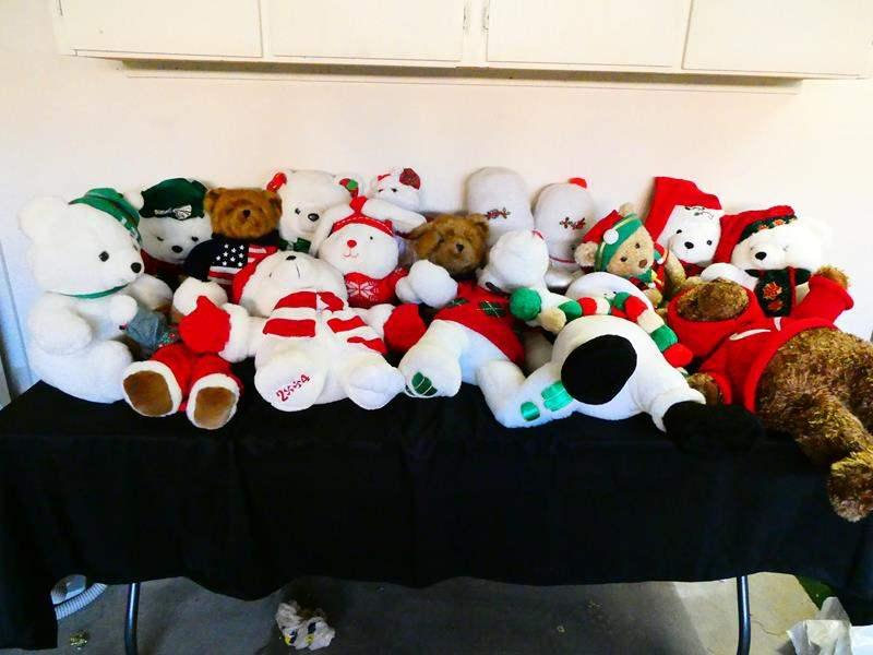 Lot # 208-Artificial Christmas tree and huge variety of Christmas stuffed animals  (main image)