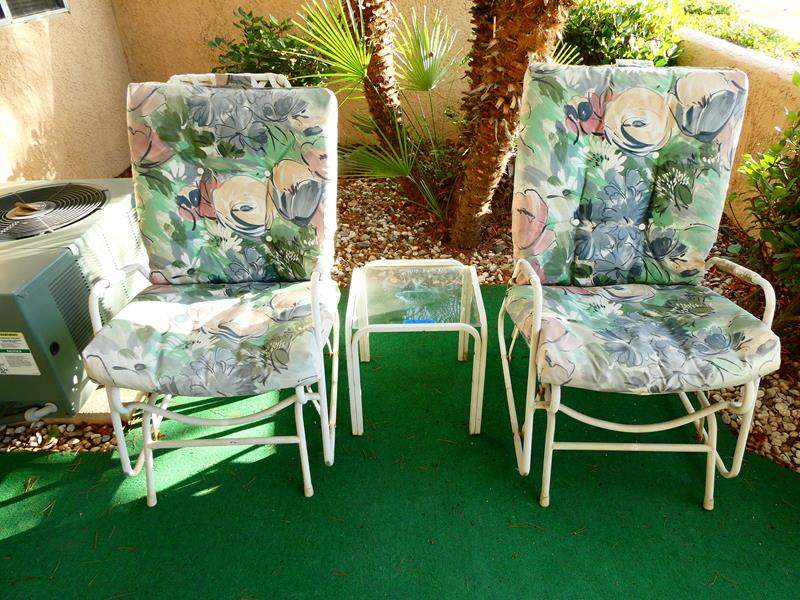 Lot # 212-Two floral rocker glider chairs with glass end table (main image)