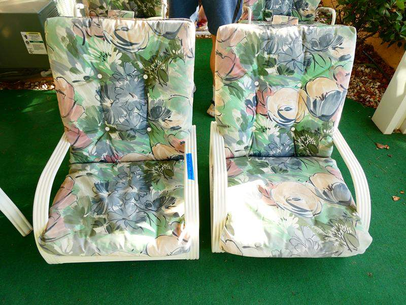 Lot # 213- Two floral low patio chairs (main image)