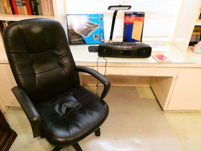 Lot # 222- Sony boom box, Black leather office chair, office supplies, paper trimmer (main image)