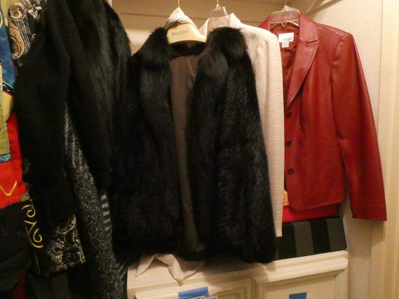 Lot # 50-Lots of women's clothes! Mostly medium. Evening wear, leather jacket, fur coats and more (main image)