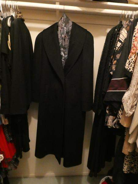 Lot # 51-Lots of women's clothes! Medium- Evening wear, Long trench coat, great quality (main image)