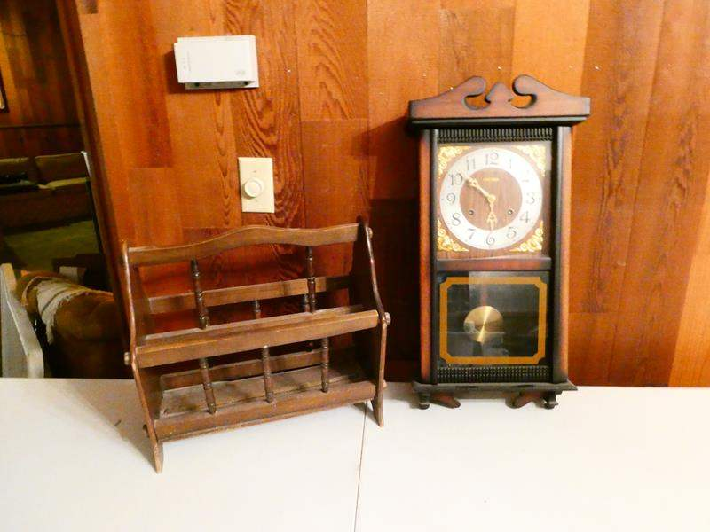 Lot # 305-Vintage Centurian wall clock with key with vintage magazine (main image)