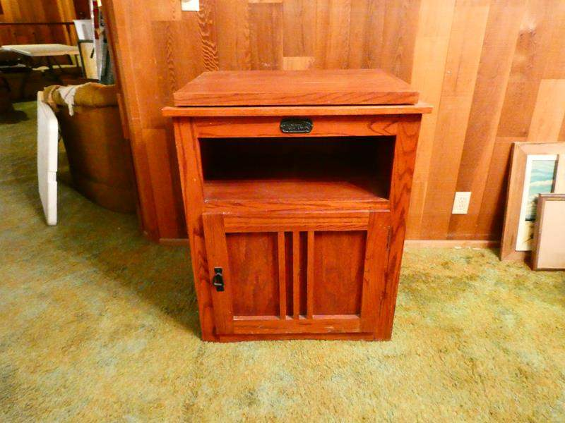 """Lot # 308-Solid wood """"Surewood Oak"""" entertainment stand, swivel top- Great condition (main image)"""