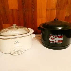 "Lot # 311-""Rival"" Crock pot and large Steamer pot (metal)"