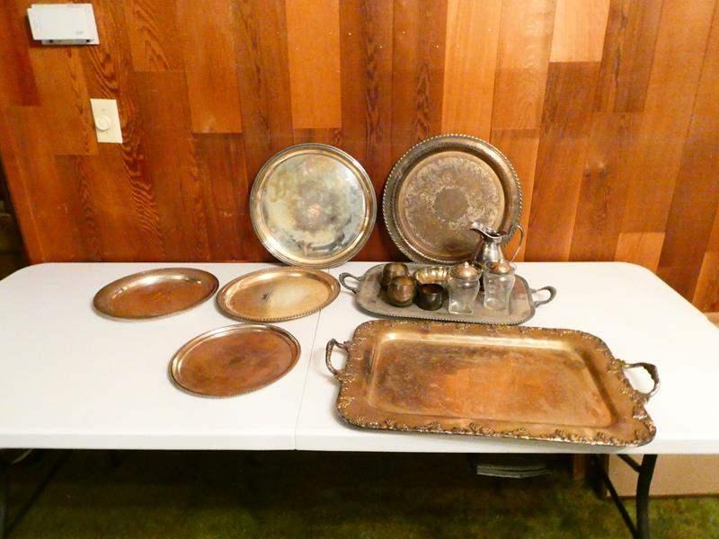 "Lot # 313-""Century Silver on copper platter/ 1847 Rogers Bro. silver tea set (main image)"