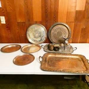 "Lot # 313-""Century Silver on copper platter/ 1847 Rogers Bro. silver tea set"