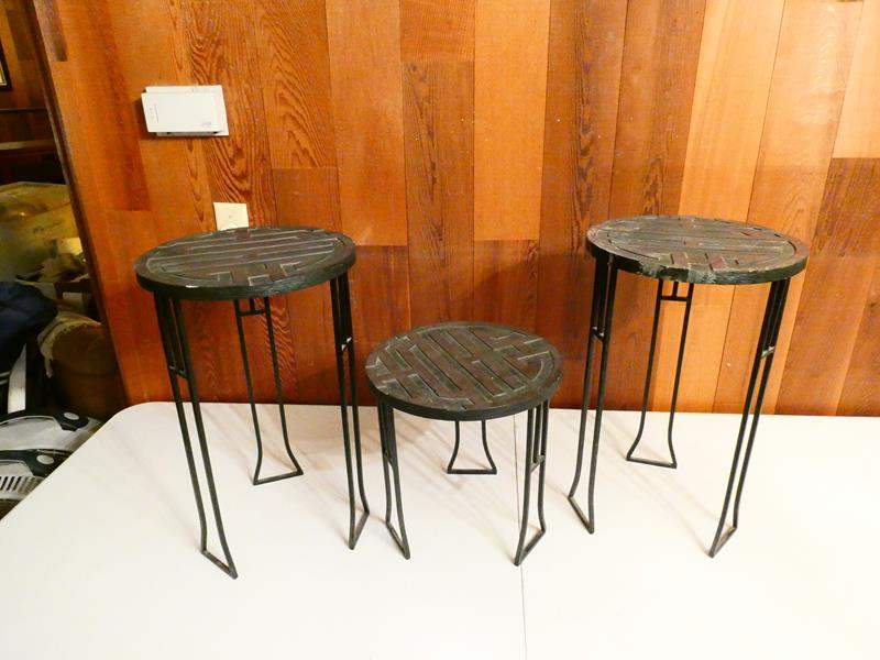 Lot # 314-Three Metal accent tables/ Ancient Chinese symbol for Joy (main image)