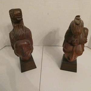 Lot # 4- 2 Mayan Mexico wood figurines/ J. Pinal