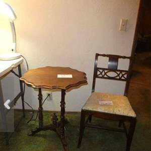 Lot # 7- Antique table and chair