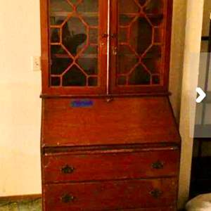 Lot # 8- Antique Secretary desk/ hutch- needs some repair- see all pictures