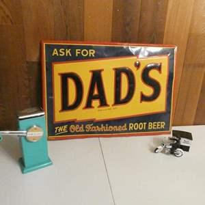 "Lot #12- Vintage ""Dad's Root beer"" metal sign, vintage crushed ice maker, sees candy collectors item"