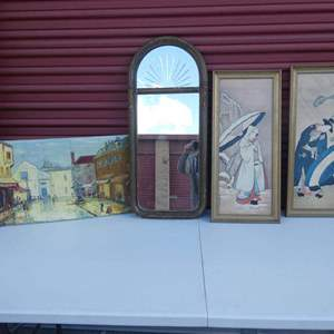 Lot # 27-Vintage art and mirror- French canvas original oil painting, two oriental pictures, one vintage mirror