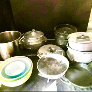 Lot # 58-Baking dishes, pots, pans, vintage bowls, some Pyrex and more