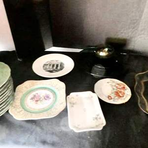 Lot # 59-Serving platters, dishes, floral plates, and fun stuff