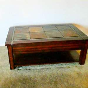 Lot # 201- Tile top Coffee table, great condition, top extends, solid wood