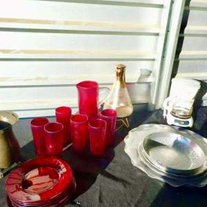 Lot # 60-Coffee pots, Fondue set, silver platters/ pitcher, vintage coffee maker, red glass drink and plate set