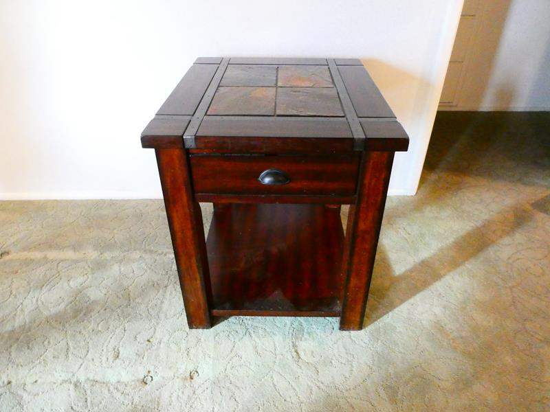 Lot # 200- Stylish tile top end table (main image)