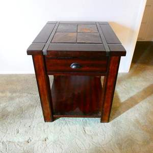 Lot # 200- Stylish tile top end table