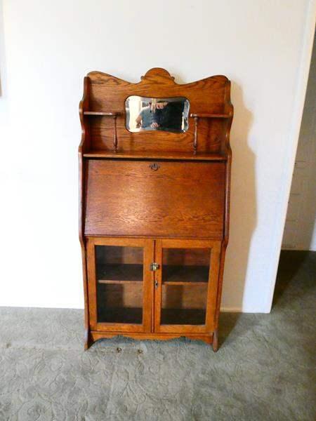 Lot # 204- Antique wooden secretary desk, beautiful condition (main image)