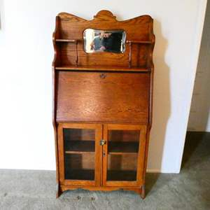 Lot # 204- Antique wooden secretary desk, beautiful condition