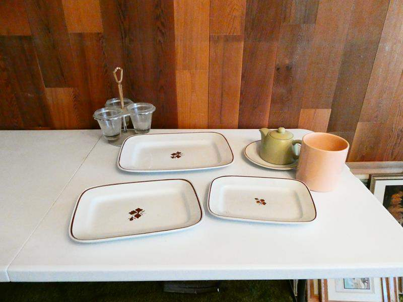 Lot # 213-Vintage Platters, dishes, tea kettle; Royal Ironstone China (main image)