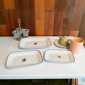 Lot # 213-Vintage Platters, dishes, tea kettle; Royal Ironstone China