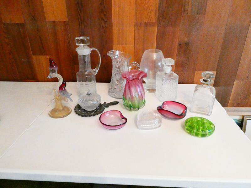 Lot # 215-Vintage Crystal, glass, colored glass, depression glass, and more (main image)
