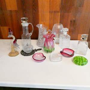 Lot # 215-Vintage Crystal, glass, colored glass, depression glass, and more