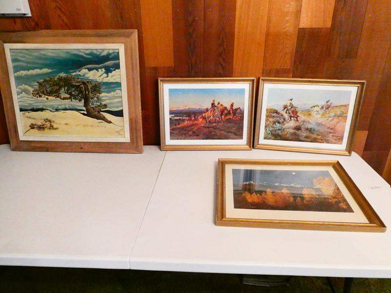 Lot # 217- Four pieces of framed art- two western, two scenery (main image)
