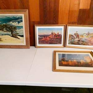Lot # 217- Four pieces of framed art- two western, two scenery