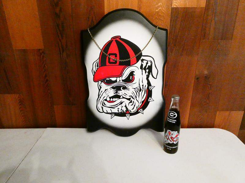 "Lot # 218- ""Bulldogs"" collector items, coke bottle (main image)"