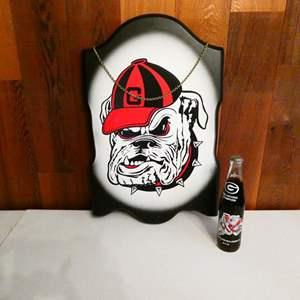 "Lot # 218- ""Bulldogs"" collector items, coke bottle"