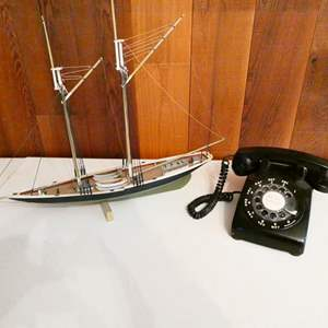 Lot # 219-Vintage model ship and rotary phone