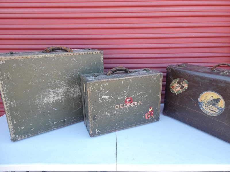 Lot # 15-1930's Antique military hard suitcases (3)- see all pictures (main image)