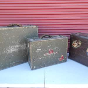Lot # 15-1930's Antique military hard suitcases (3)- see all pictures