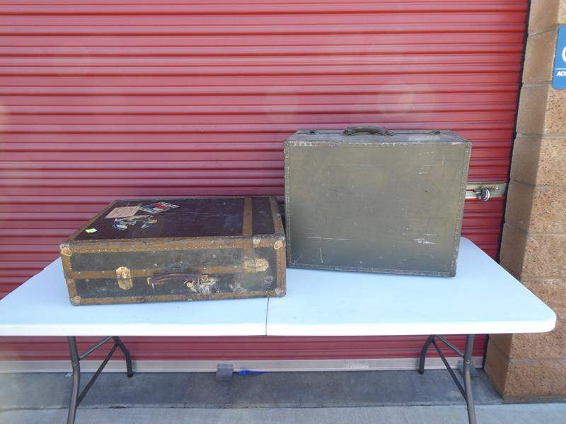 Lot # 16-Two Antique WW2 (1930 or older) suitcases (main image)