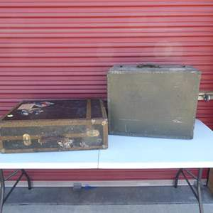 Lot # 16-Two Antique WW2 (1930 or older) suitcases