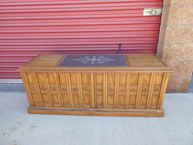 Lot # 17-Mid- Century curio/ stereo cabinet: Solid wood, stone top (main image)
