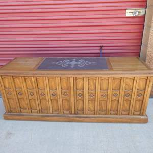 Lot # 17-Mid- Century curio/ stereo cabinet: Solid wood, stone top