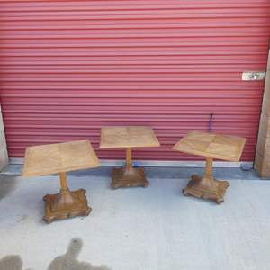 Lot # 18-Three Mid-Century end tables, solid wood, great condition
