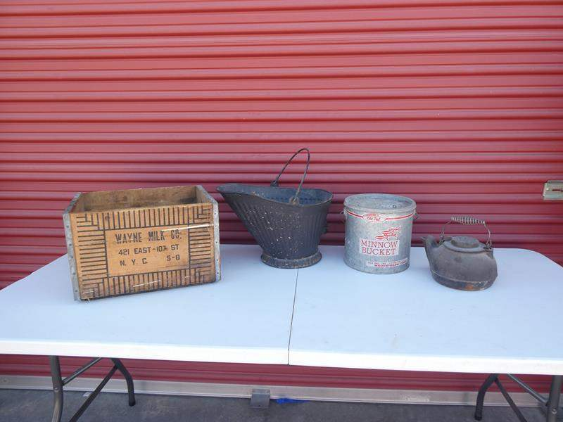 Lot # 29- Antique & Vintage collector Items: Milk crate, antique coal bucket, minnow bucket, cast iron tea kettle (main image)