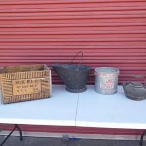 Lot # 29- Antique & Vintage collector Items: Milk crate, antique coal bucket, minnow bucket, cast iron tea kettle